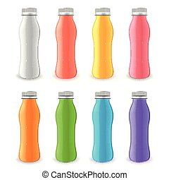 Yogurt plastic bottle 3d realistic vector set