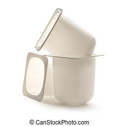 Yogurt pots - Empty plastic yogurt pots on white