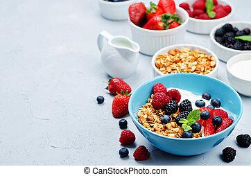 yogurt, sano, greco, granola, colazione, bacche, latte