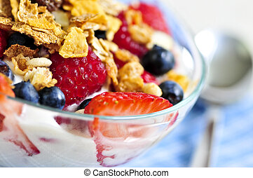 Yogurt with berries and granola - Serving of yogurt with ...