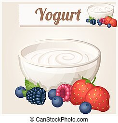 Yogurt with berries. Detailed Vector Icon. Series of food and drink and ingredients for cooking.