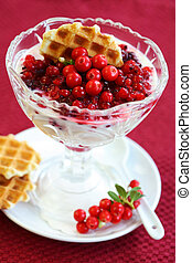 Yogurt with caramelized berries