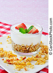 Yogurt with cereals and strawberry