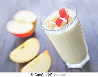 yogurt with red apple