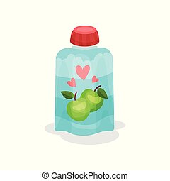 Yogurt with taste of apples in soft packaging. Baby food. Delicious fruity beverage for kids. Flat vector for promo poster or banner