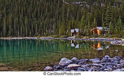 yoho, escénico, parque nacional, lago, ohara