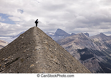 Yoho National Park Wilderness - A silhouette view of an...