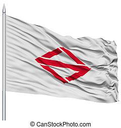 Yokohama Capital City Flag on Flagpole, Flying in the Wind, Isolated on White Background