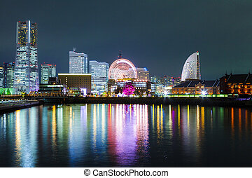 Yokohama city in Japan at night