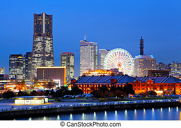 Yokohama in Japan at night
