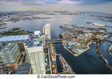 Yokohama, Japan at Minato-mirai waterfront.