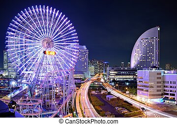 Yokohama, Japan at Night. - Yokohama, Japan skyline at...