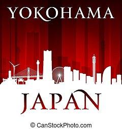 Yokohama Japan city skyline silhouette red background