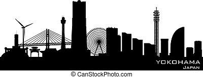 Yokohama Japan city skyline vector silhouette - Yokohama...