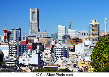 Cityscape of Yokohama, Japan, the second largest city in the country.