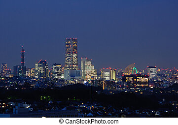 Yokohama, Japan - Night view at Yokohama. Taken in spring...
