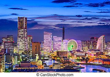 Yokohama Japan Skyline - Yokohama, Japan cityscape of Minato...