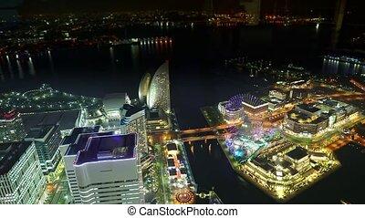 Yokohama night skyline of the port