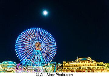 yokohama, -, novembre, 24, :, ferris roue, à, cosmo, mondiale, amusement, parc, à, minato, mirai, yokohama, est, les, troisième, plus grand, ville, dans, japan.