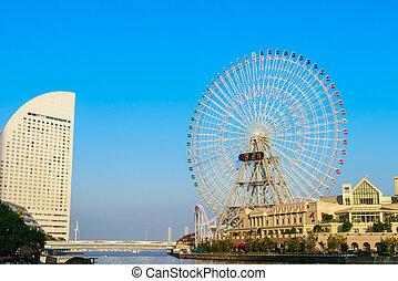 yokohama, -, plus grand, parc, mondiale, novembre, japan., amusement, minato, cosmo, roue, japon, troisième, 24, ville, yokohama, ferris, mirai, :