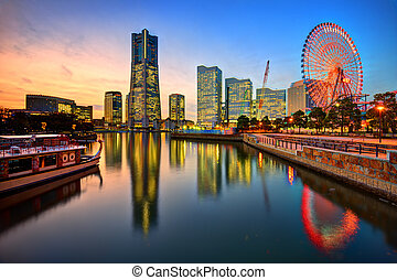 Yokohama Skyline at Sunset - Yokohama, Japan skyline at...