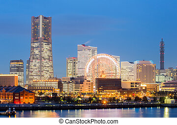 Yokohama Skyline dusk Japan - Yokohama Skyline building and...