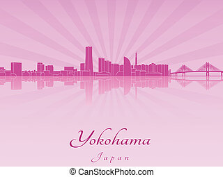 Yokohama skyline in purple radiant orchid in editable vector...