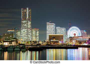 Yokohama Skyline night Japan - Yokohama Skyline building and...