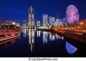 Skyline of Yokohama, Japan at Minato-mirai bay.