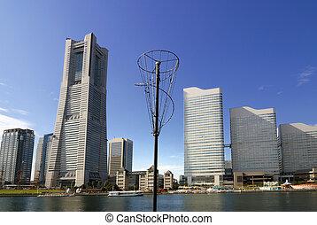 Yokohama skyline - skyscrapers skyline of Yokohama city by...