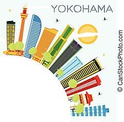 Yokohama Skyline with Color Buildings, Blue Sky and Copy Space.