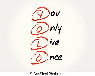 YOLO acronym concept - YOLO - You Only Live Once, acronym...