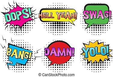 yolo, scoppio, discorso, retro, bolle, malloppo, comico