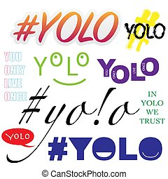 Sample yolo text different forms and colors