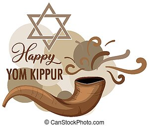 yom, bandera, shofar, feliz, kippur
