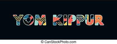yom, concepto, palabra, ilustración, kippur, arte