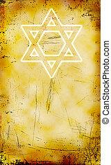 yom, grunge, judío, david, kippur, plano de fondo, estrella