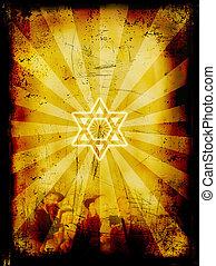 yom, grunge, judío, -, kippur, plano de fondo, expiación, día
