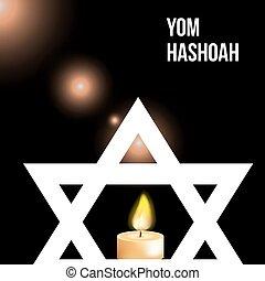 yom, hashoah, ilustración, -remembrance, vector, plano de fondo, día