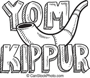 Doodle style Jewish holiday Yom Kippur icon with lettering and shofar - horn. Vector format.