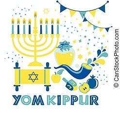 yom kippur, judío, expiación, velas, shofar, tarjeta, ...