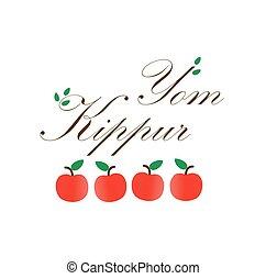 yom kippur, manzanas, rojo