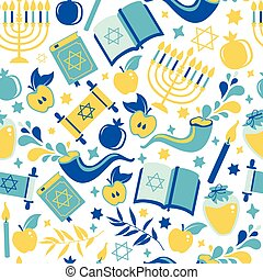 yom kippur, patrón, velas, shofar, white., impresión, ...