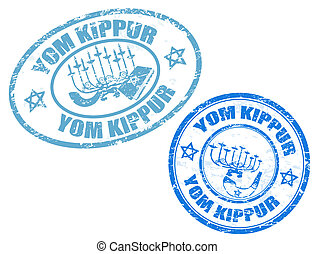 Yom Kippur stamps - Grunge rubber stamps with jewish symbols...
