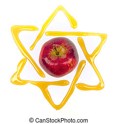 yom kippur star of david - honey and apple traditonal food...