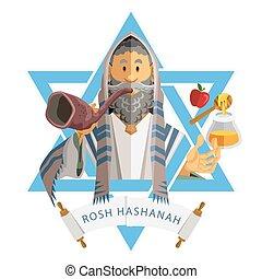 yom, rosh, żydowski, k, hashanah, rok, nowy