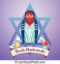 yom, rosh, judío, hashanah, kippur, año, nuevo