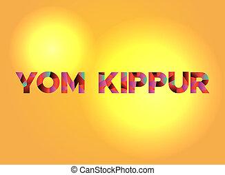 yom, tema, palabra, ilustración, arte, kippur
