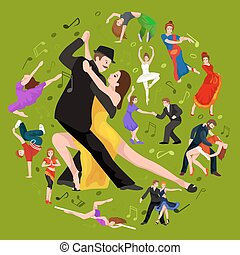 Yong couple man and woman dancing tango with passion, tango dancers vector illustration isolated on white Latin and ballroom dances, peoples dansing tango, girl and boy tangoing