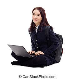 yong, estudar, laptop, asiático, estudante, whit, bonito